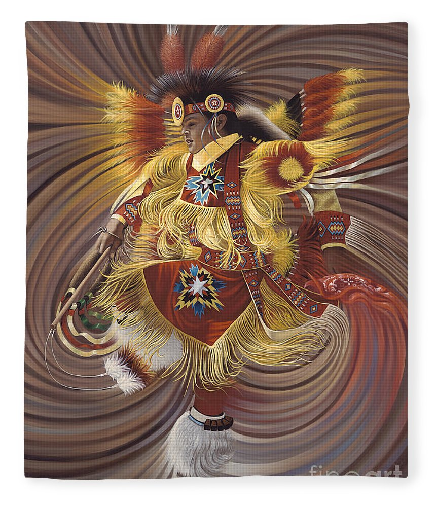 Sacred Fleece Blanket featuring the painting On Sacred Ground Series 4 by Ricardo Chavez-Mendez