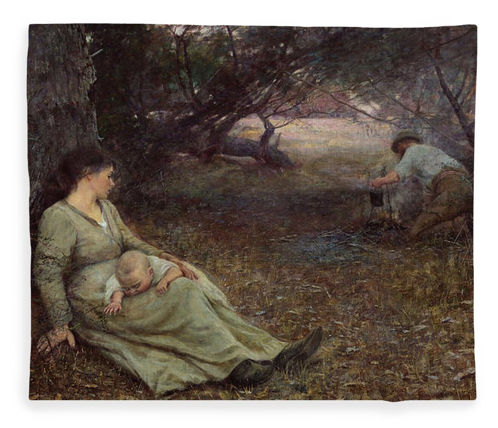 Frederick Mccubbin Fleece Blanket featuring the painting On the wallaby track by Frederick McCubbin