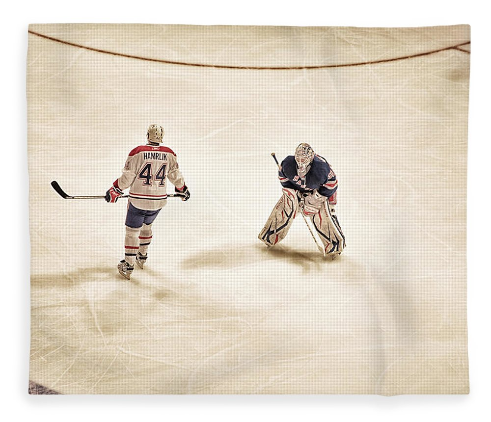 Hockey Fleece Blanket featuring the photograph Opponents by Karol Livote