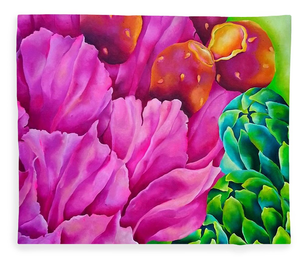 Pink Fleece Blanket featuring the painting Cactus by Elizabeth Elequin