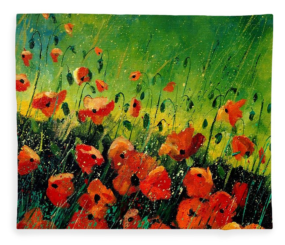 Poppies Fleece Blanket featuring the painting Orange poppies by Pol Ledent