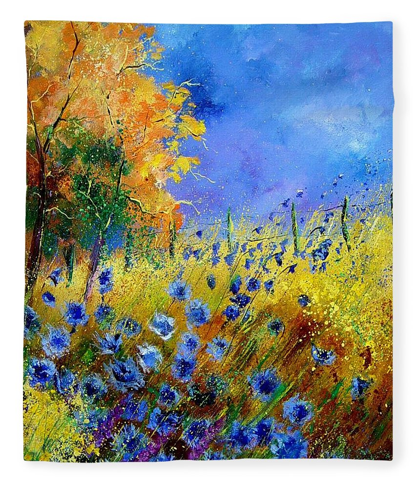 Poppies Fleece Blanket featuring the painting Orange tree and blue cornflowers by Pol Ledent