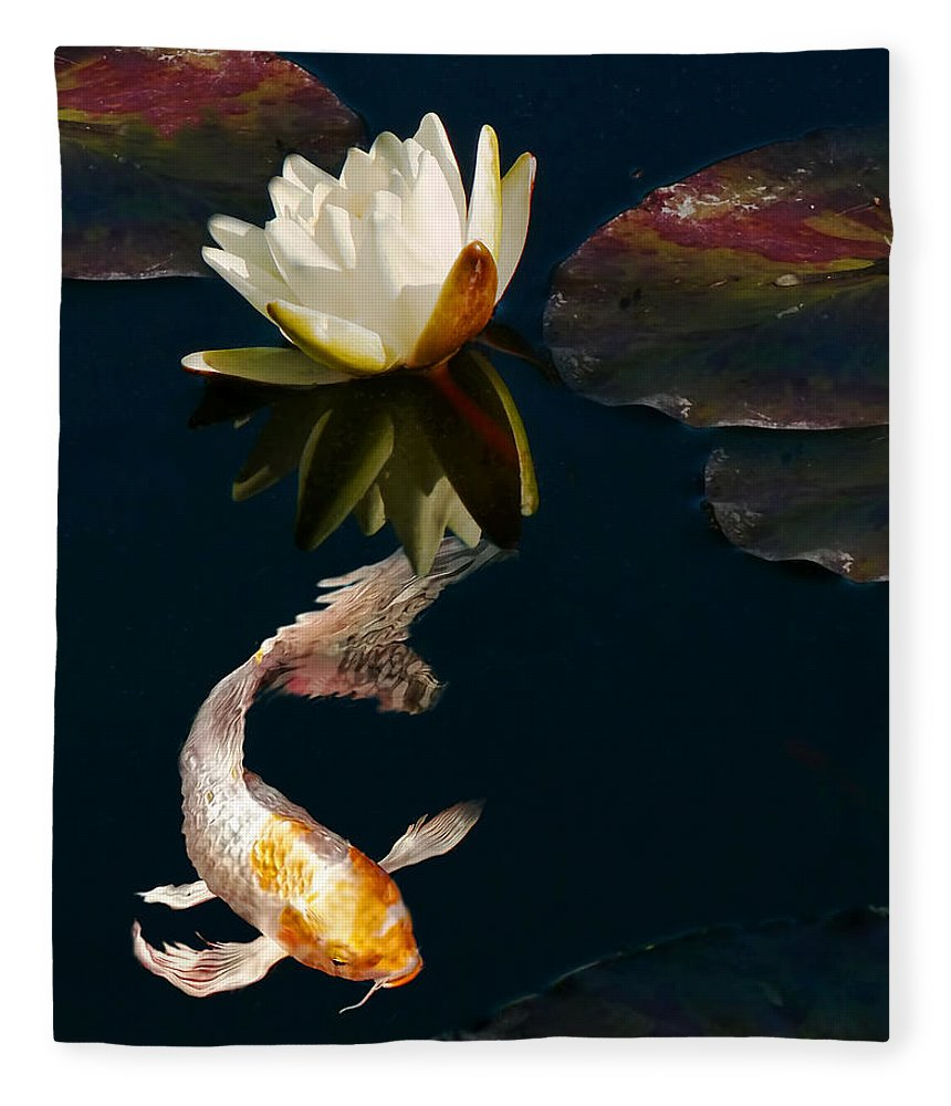 Oriental Koi Fish And Water Lily Flower Fleece Blanket For Sale By