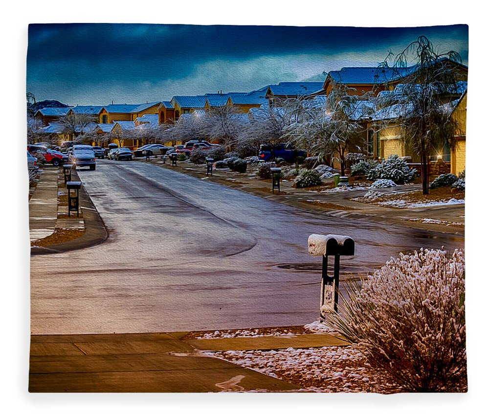 Myhaver Photography Fleece Blanket featuring the photograph Oro Valley Winter No.54 by Mark Myhaver