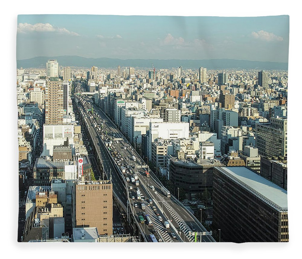 Osaka Prefecture Fleece Blanket featuring the photograph Osaka Cityscape by I Love Photo And Apple.