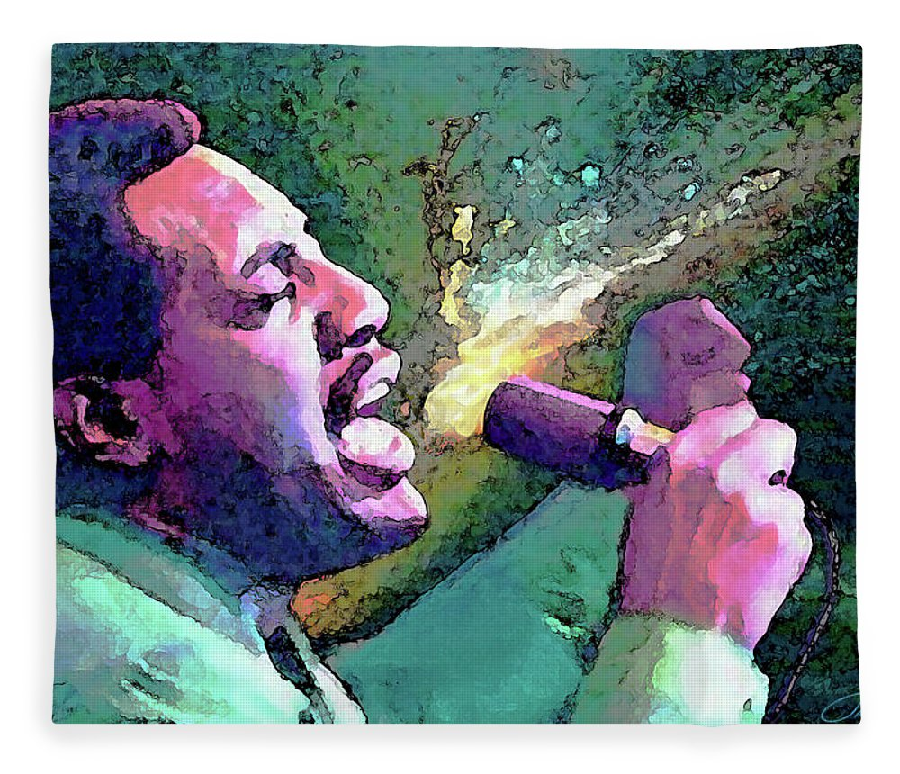Otis Redding Fleece Blanket featuring the painting Otis Redding by John Travisano