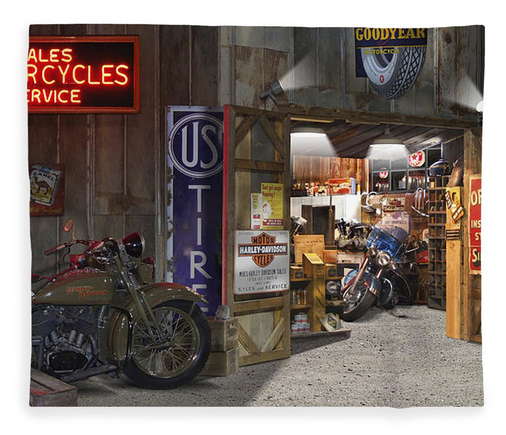 Motorcycle Shop Fleece Blanket featuring the photograph Outside The Motorcycle Shop by Mike McGlothlen