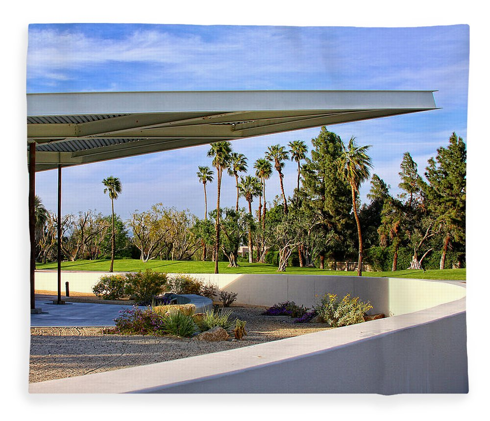 Palm Springs Fleece Blanket featuring the photograph OVERHANG Palm Springs Tram Station by William Dey