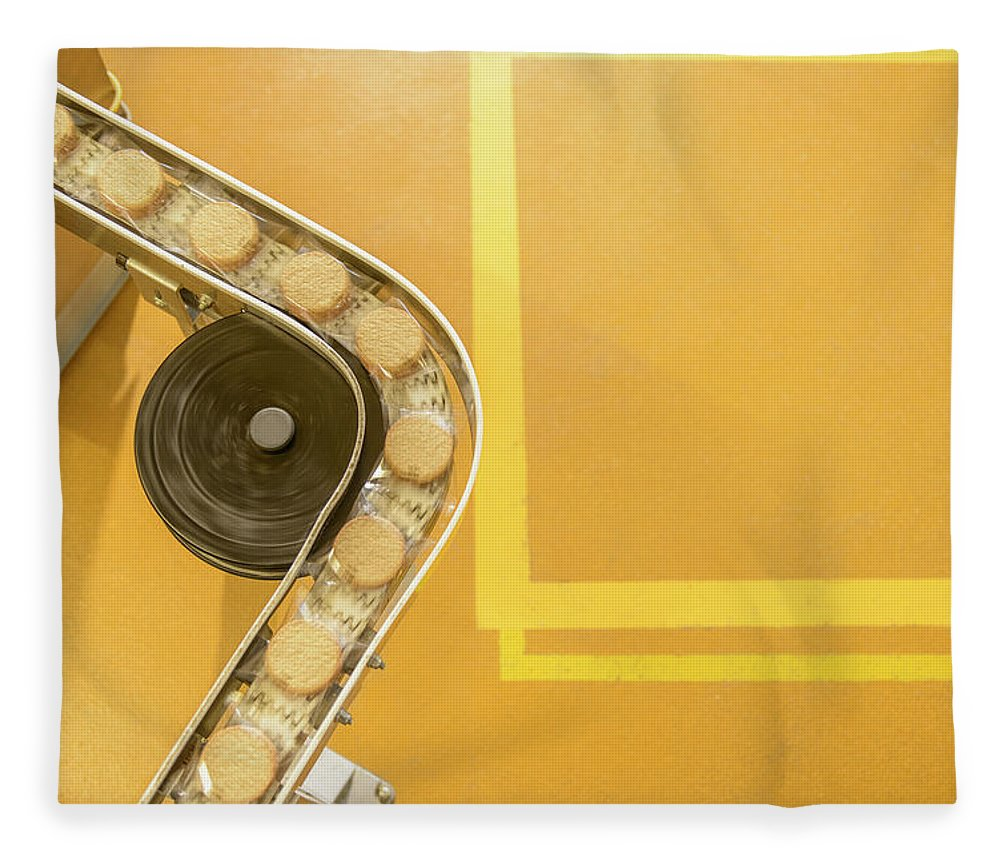 Manufacturing Equipment Fleece Blanket featuring the photograph Overhead View Of Freshly Made Biscuits by Monty Rakusen