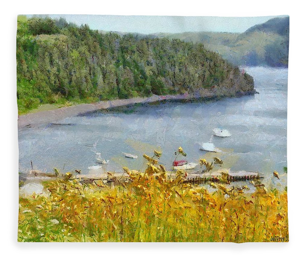 Canadian Fleece Blanket featuring the painting Overlooking the Harbor by Jeffrey Kolker