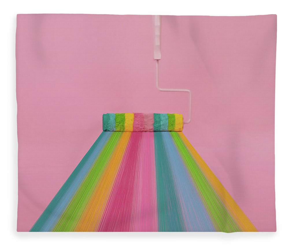 Art Fleece Blanket featuring the photograph Paint Roller With Rainbow Stripes by Juj Winn