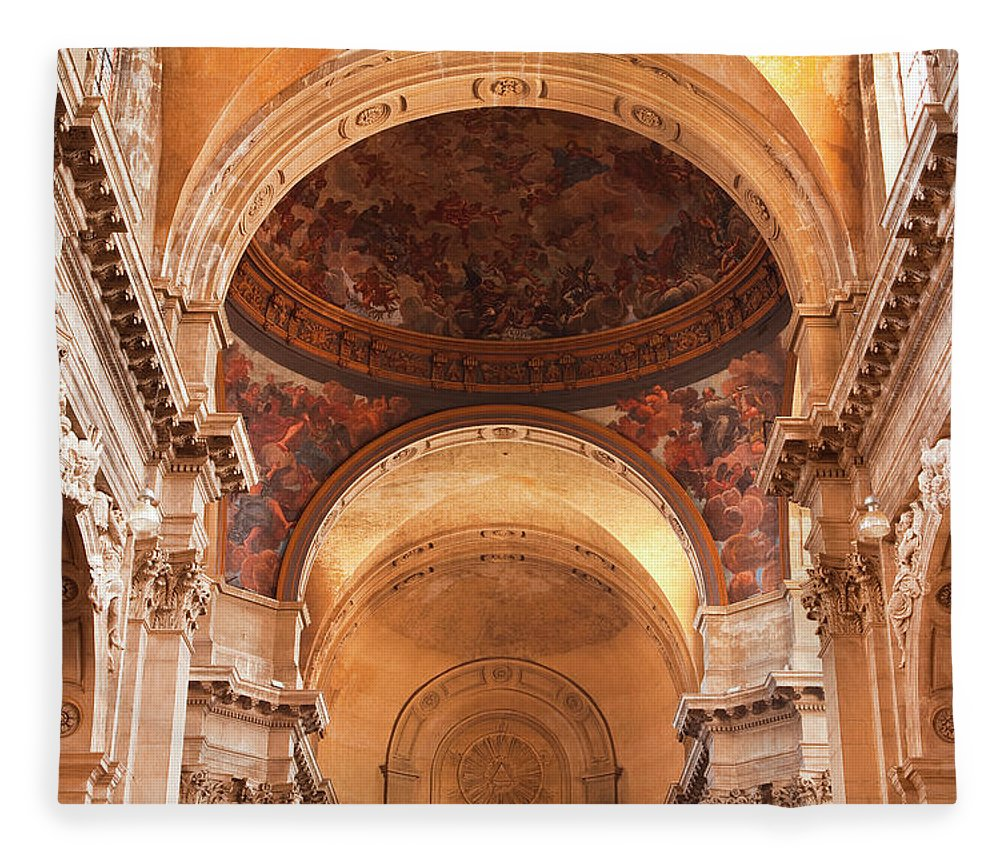 Arch Fleece Blanket featuring the photograph Painted Ceiling Inside The Cathedral At by Julian Elliott Photography