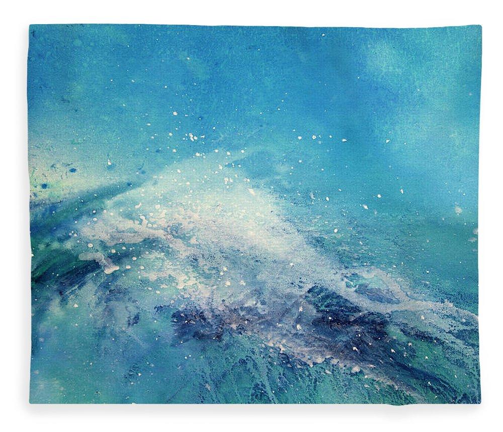 Gouache Fleece Blanket featuring the digital art Painting Of An Ocean Wave by Brad Rickerby