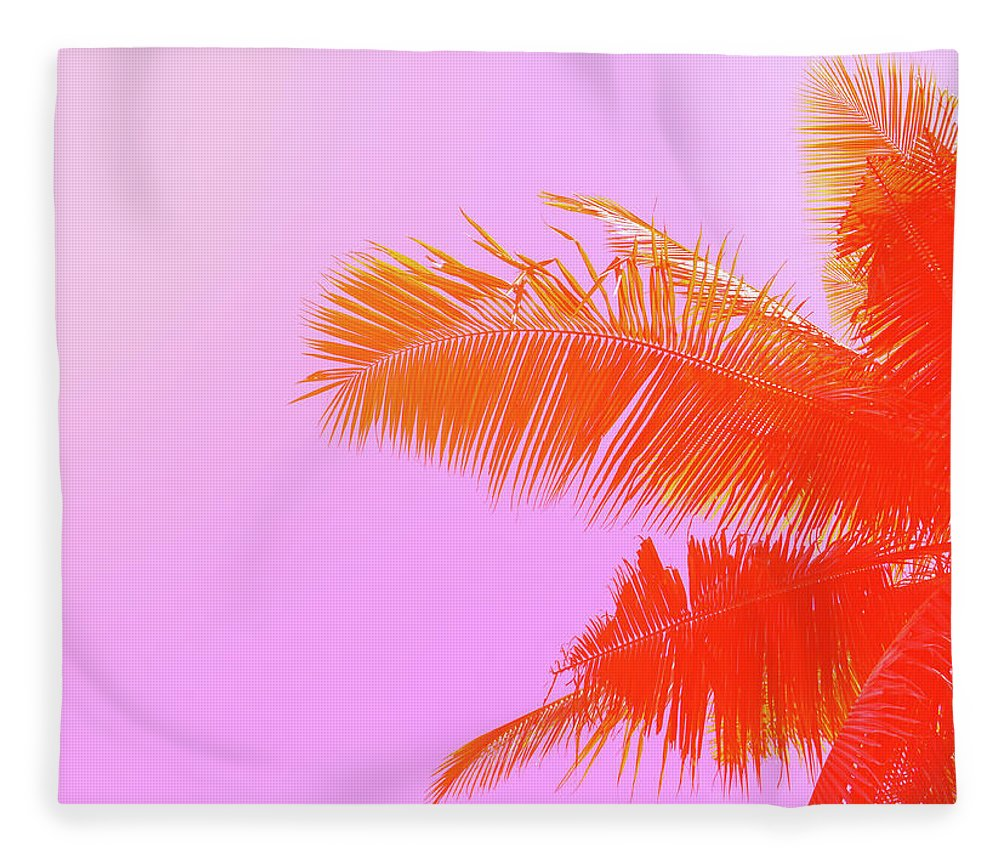 Orange Color Fleece Blanket featuring the photograph Palm Tree On Sky Background. Palm Leaf by Slavadubrovin