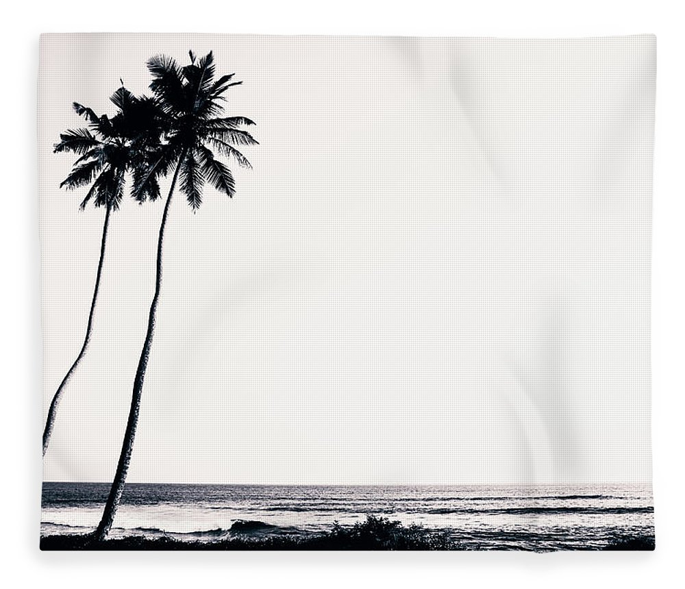 Empty Fleece Blanket featuring the photograph Palm Trees And Beach Silhouette by Chrispecoraro