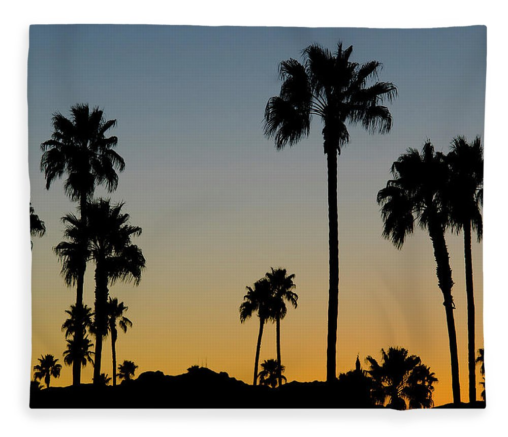 Scenics Fleece Blanket featuring the photograph Palm Trees At Sunset by Chapin31