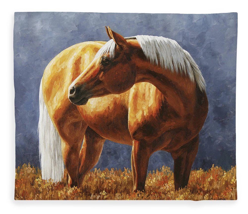 Horse Fleece Blanket featuring the painting Palomino Horse - Gold Horse Meadow by Crista Forest
