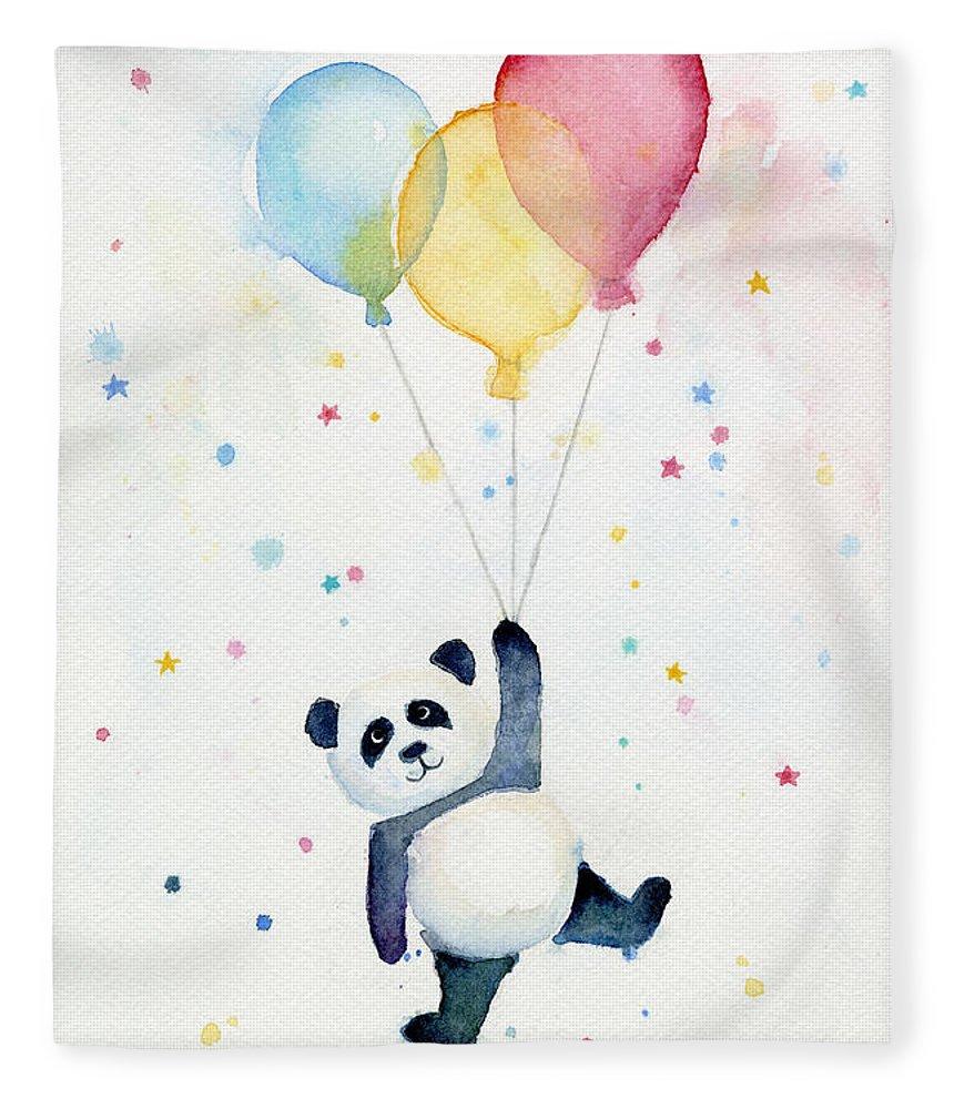 Panda Fleece Blanket featuring the painting Panda Floating with Balloons by Olga Shvartsur