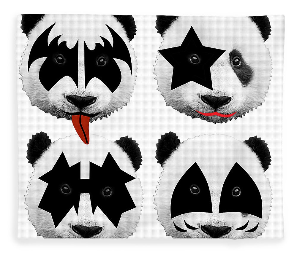 Gene Simmons Fleece Blanket featuring the digital art Panda Kiss by Mark Ashkenazi