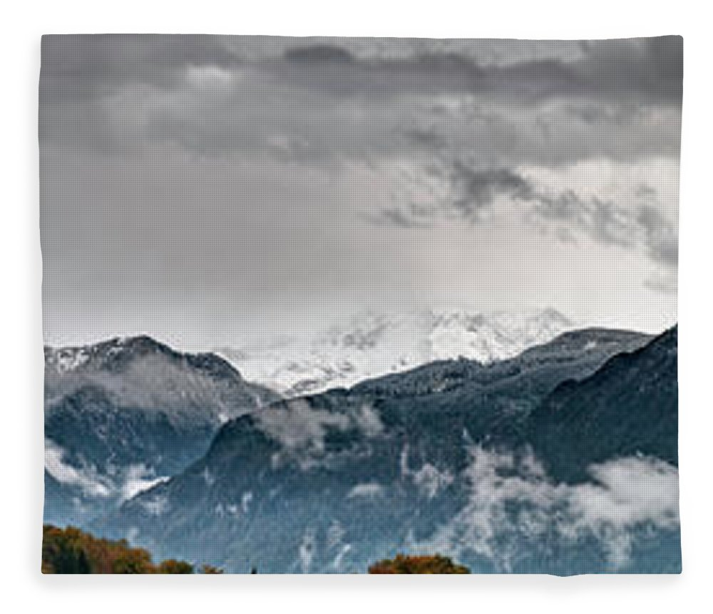 Extreme Terrain Fleece Blanket featuring the photograph Panorama Of The Berchtesgaden Alps by Delectus