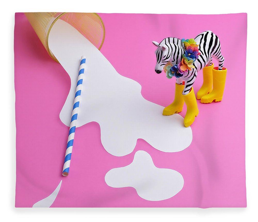 Milk Fleece Blanket featuring the photograph Paper Craft Glass Of Spilled Milk With by Juj Winn