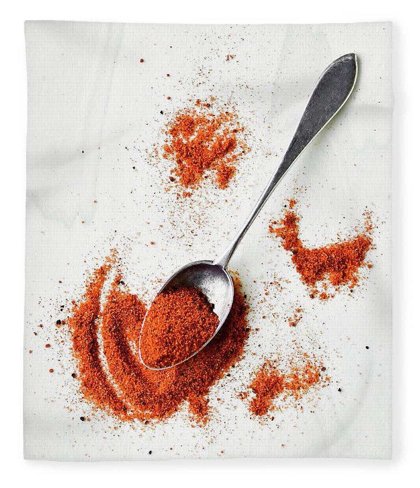 Atlanta Fleece Blanket featuring the photograph Paprika Powder In A Spoon by Natalia Ganelin