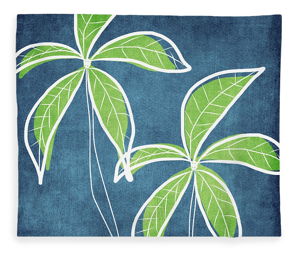 Palm Trees Fleece Blanket featuring the painting Paradise Palm Trees by Linda Woods