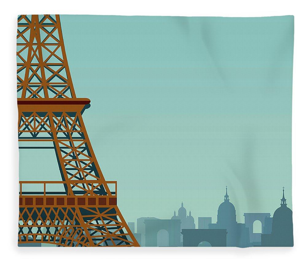 Built Structure Fleece Blanket featuring the digital art Paris by Drmakkoy