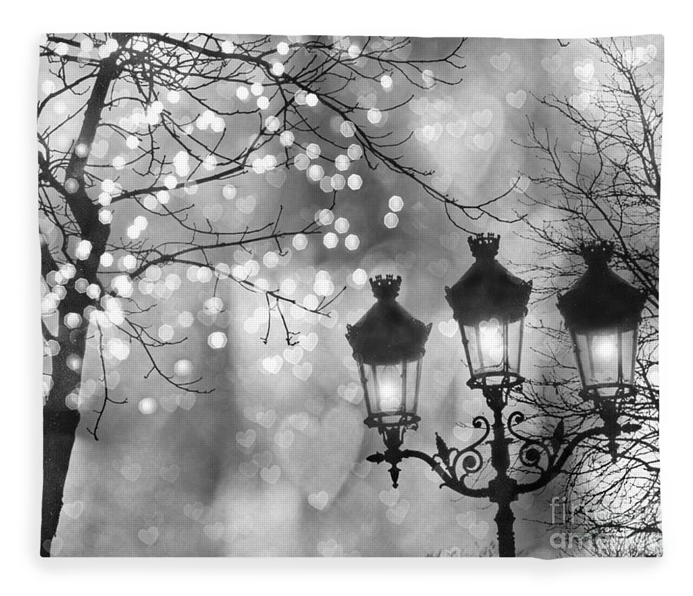 paris fleece blanket featuring the photograph paris christmas sparkle lights street lanterns paris holiday street