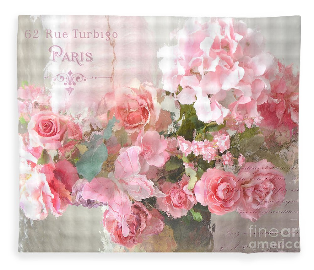 Roses Fleece Blanket featuring the photograph Paris Shabby Chic Dreamy Pink Peach Impressionistic Romantic Cottage Chic Paris Flower Photography by Kathy Fornal