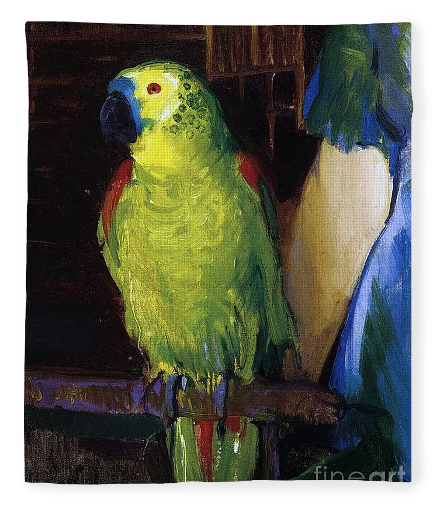 Bird; Pet; Green; Colourful; Tropical; Exotic; Interior; Domestic; Parrot; Birds; Parrots; Colorful; Animal; Oil Paint; Oil Painting; George; Wesley; George Wesley; Bellows; George Wesley Bellows; Animal; Animals; Animal Life; Pets; Pet Bird; Green; Red; Blue; Feather; Feather; Talon; Talons; Atop; Perch; Perched; Beak; Black Beak; Domesticated; Nature; Natural; Wildlife; Owner; Pet Owner; Woman; Arm; Blue Dress; Dress; Pet Owners; Indoor; Indoors; Creature; Living Thing; Alive; Wing; Wings Fleece Blanket featuring the painting Parrot by George Wesley Bellows
