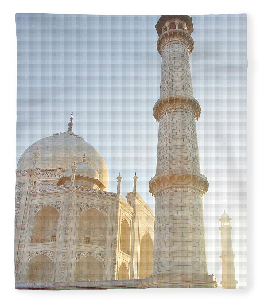 Arch Fleece Blanket featuring the photograph Partial View Taj Mahal by Grant Faint
