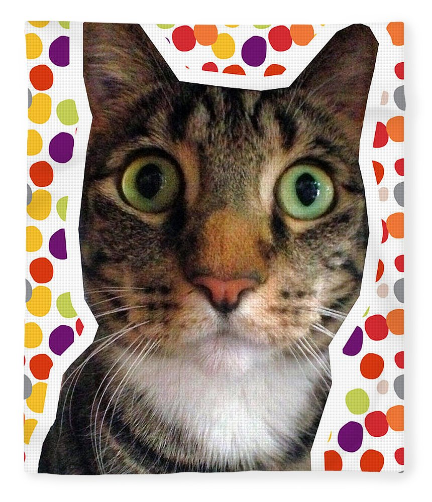 Cat Fleece Blanket featuring the photograph Party Animal- Cat With Confetti by Linda Woods