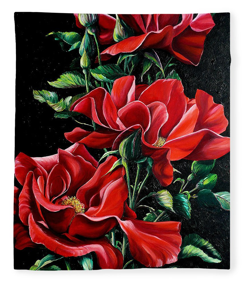 Rose Paintings Red Floral Paintings Flower Paintings  Botanical Paintings Red Rose Paintings Greeting Card Paintings Canvas Print Paintings  Fleece Blanket featuring the painting Passionately Red by Karin Dawn Kelshall- Best