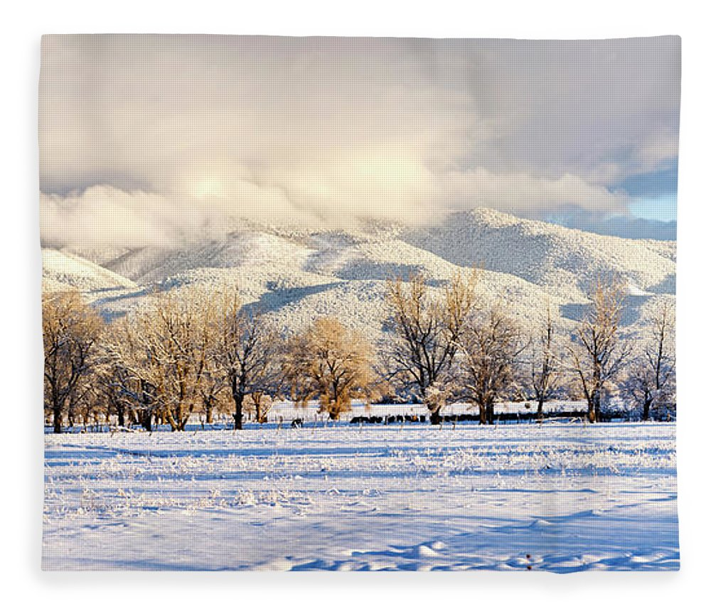Photography Fleece Blanket featuring the photograph Pasture Land Covered In Snow With Taos by Panoramic Images
