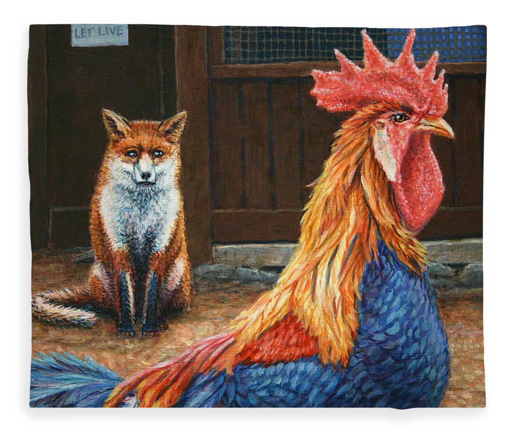 Rooster Fleece Blanket featuring the painting Peaceful Coexistence by James W Johnson