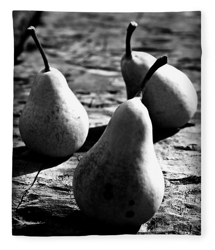 Pears Fleece Blanket featuring the photograph Pears by Clare Bevan