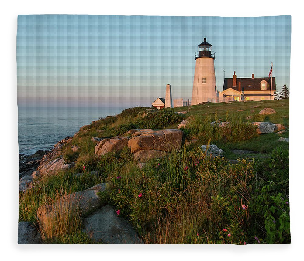 Tranquility Fleece Blanket featuring the photograph Pemaquid Point Maine Lighthouse by Dave Mention Photography
