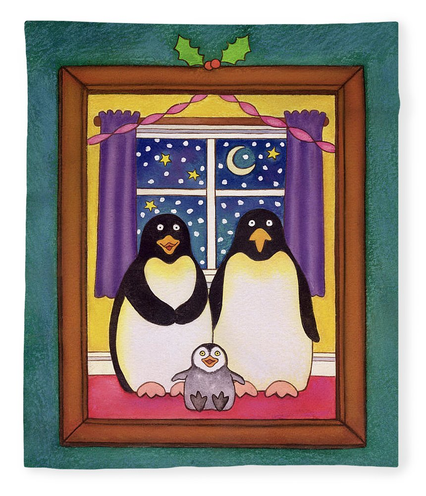 Chick Fleece Blanket featuring the painting Penguin Family Christmas by Cathy Baxter