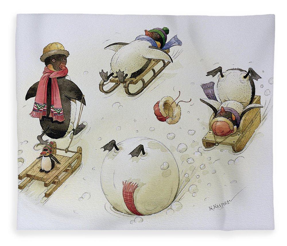 Penguin Fleece Blanket featuring the painting Penguins Sledging by Kestutis Kasparavicius