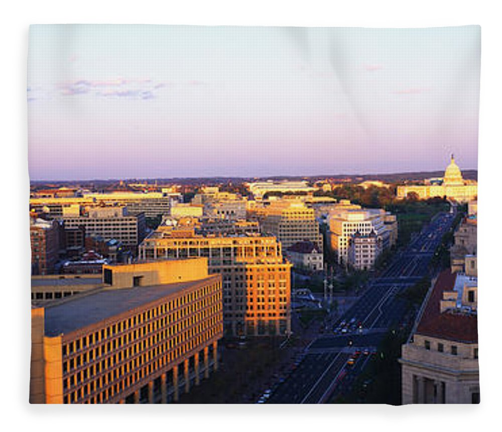 Photography Fleece Blanket featuring the photograph Pennsylvania Ave Washington Dc by Panoramic Images