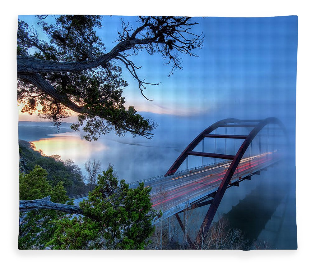Tranquility Fleece Blanket featuring the photograph Pennybacker Bridge In Morning Fog by Evan Gearing Photography
