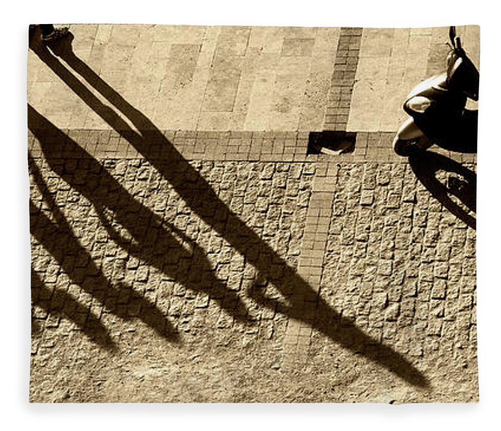 Working Fleece Blanket featuring the photograph People And Motorcycles Shadows by Okeyphotos