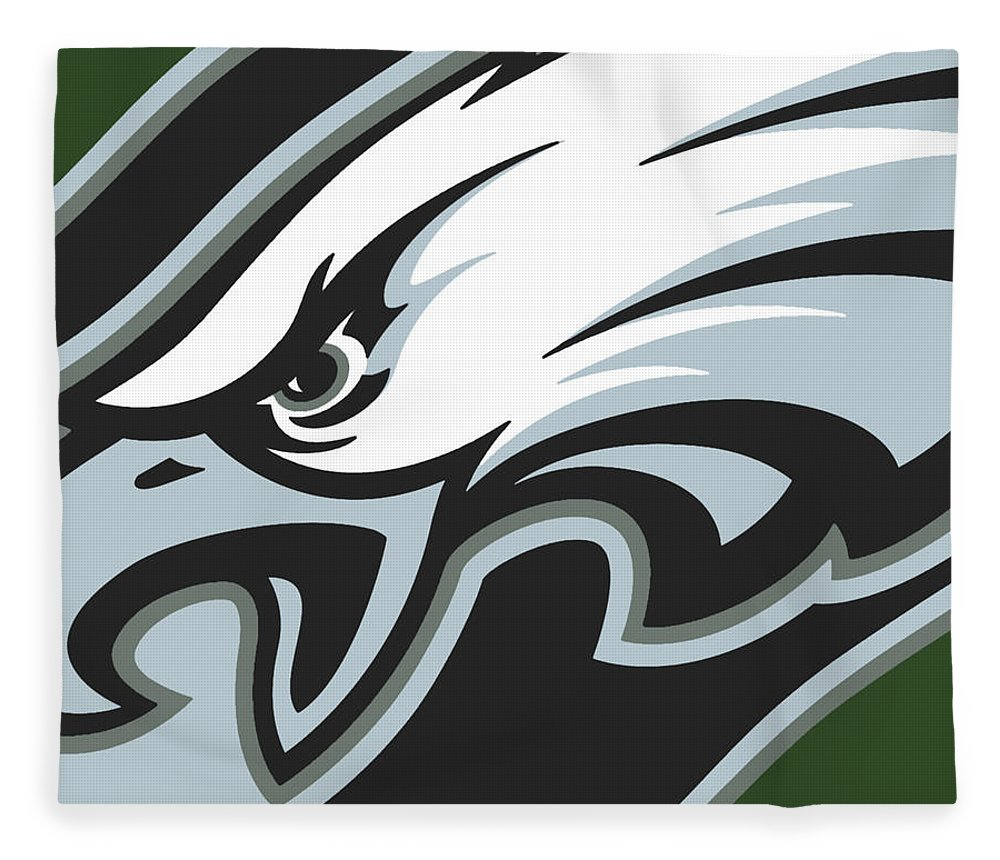 Philadelphia Fleece Blanket featuring the painting Philadelphia Eagles Football by Tony Rubino