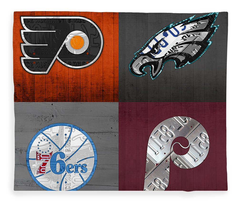 Philadelphia Fleece Blanket featuring the mixed media Philadelphia Sports Fan Recycled Vintage Pennsylvania License Plate Art Flyers Eagles 76ers Phillies by Design Turnpike