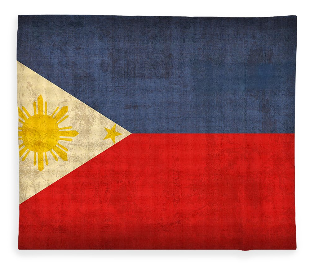 Philippines Fleece Blanket featuring the mixed media Philippines Flag Vintage Distressed Finish by Design Turnpike