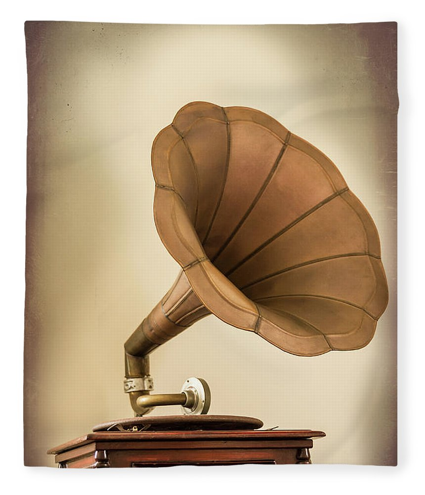 Music Fleece Blanket featuring the photograph Phonograph Record Player by Gary S Chapman