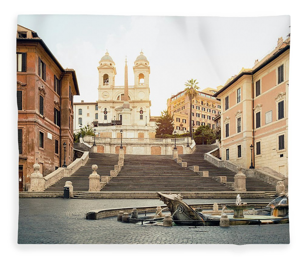 Steps Fleece Blanket featuring the photograph Piazza Di Spagna, Spanish Steps, Rome by Spooh