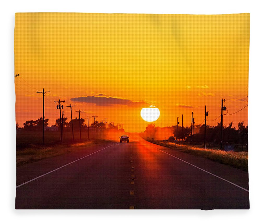 Saturated Color Fleece Blanket featuring the photograph Pickup Truck At Sunset On West Texas by Dszc