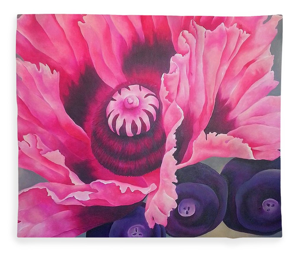 Pink Fleece Blanket featuring the painting Picotee by Elizabeth Elequin